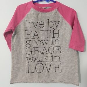 Other - Size 4 girls 3/4 length t-shirt Live by faith